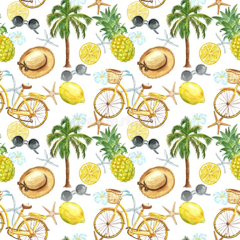 Summer vacation vibes seamless pattern. Watercolor marine print with yellow bicycle, starfish, sunglasses, palm tree, lemons. Watercolor summer beach seamless vector illustration