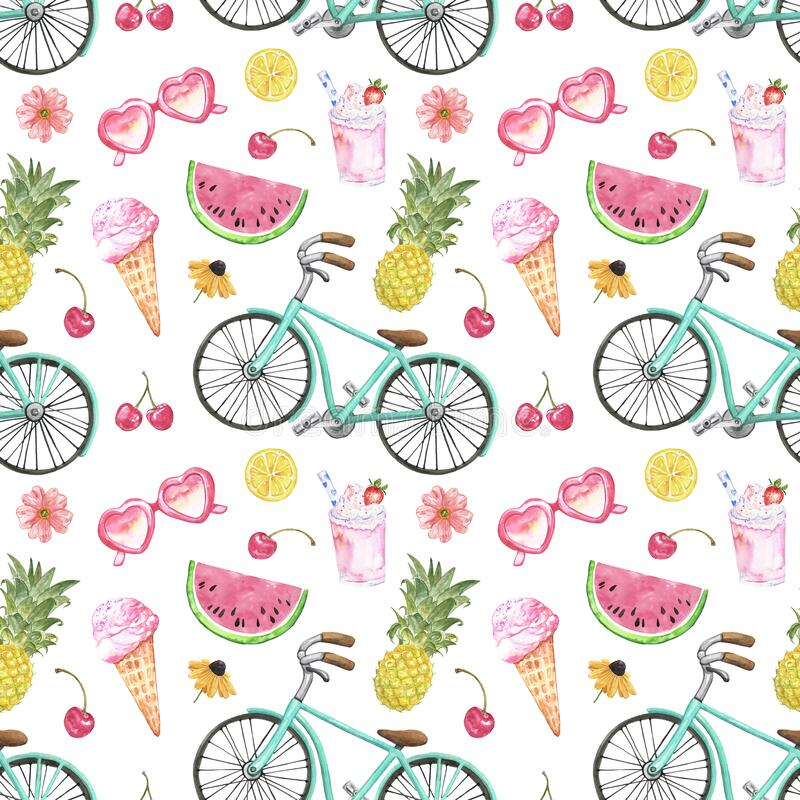 Free Summer Vacation Vibes Seamless Pattern With Beach Bicycle, Ice Cream, Pineapple, Watermelon On White Background Stock Images - 184251554