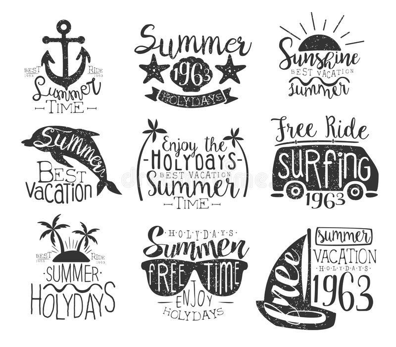 Summer Vacation Vintage Stamp Collection. Of Monochrome Vector Design Labels On White Background stock illustration