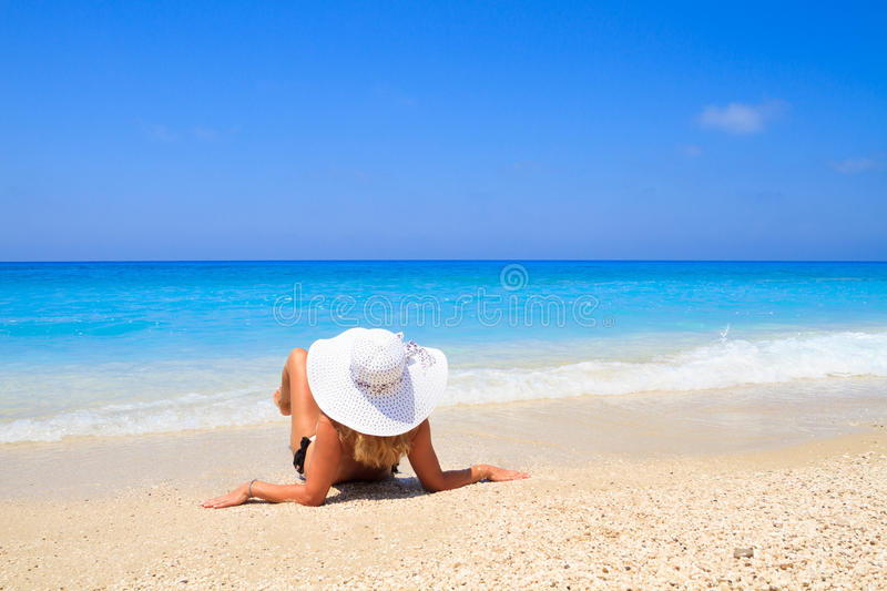 Summer vacation woman on beach stock image