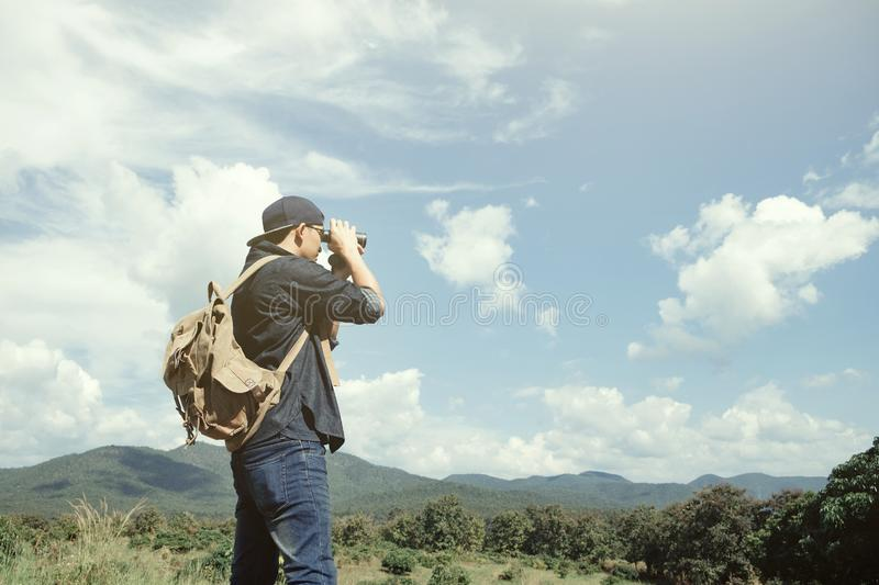 Summer vacations and Lifestyle hiking concept stock photo