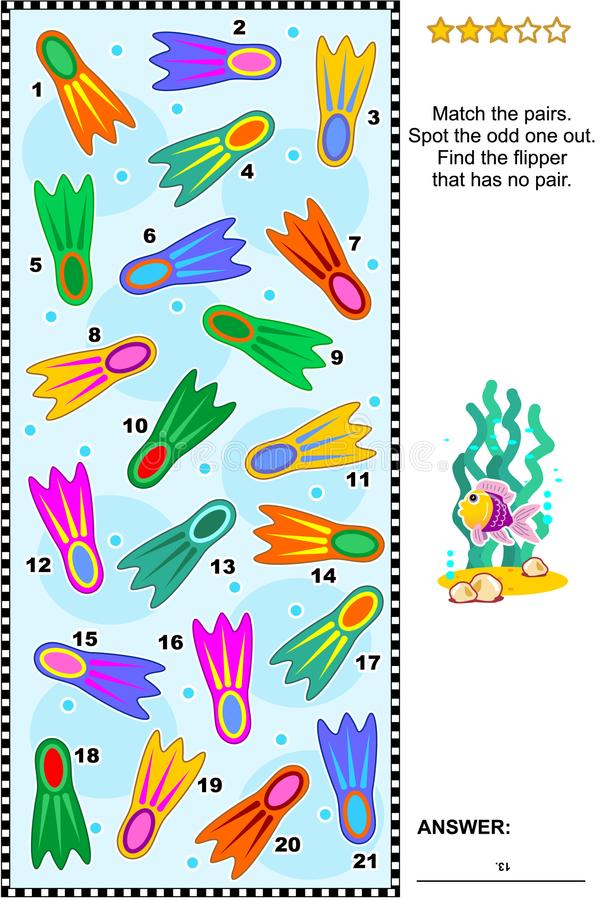 Visual logic puzzle with colorful scuba diving flippers. Summer vacations themed visual puzzle with colorful scuba diving flippers suitable both for kids and stock illustration