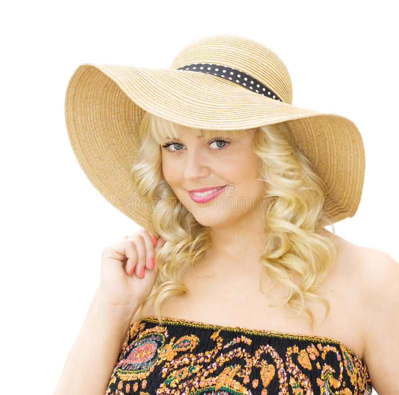 Woman Wearing Straw Hat Stock Images