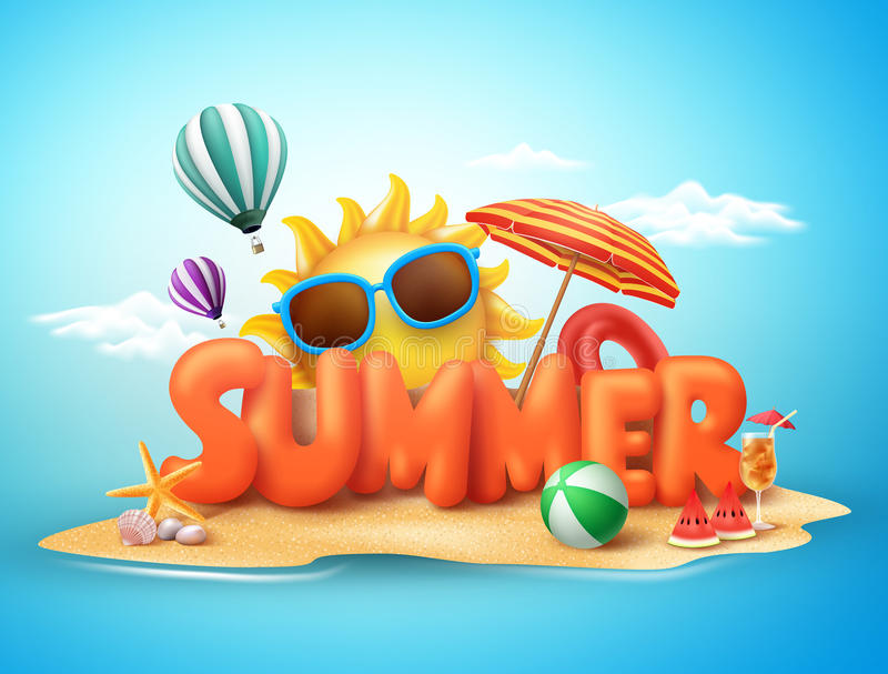 Summer vector banner design concept of 3d text in beach island. With summer elements and balloons in blue sky background. Vector illustration vector illustration