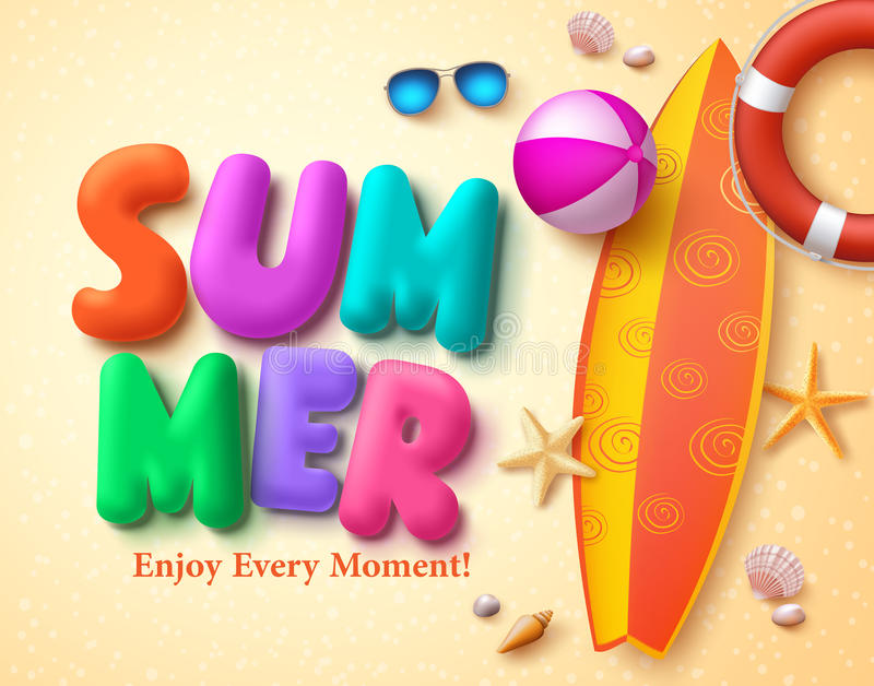Summer vector design concept with colorful 3D text and summer elements stock illustration