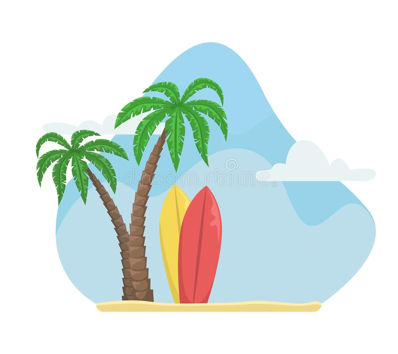 Summer vector illustration with palm trees and surfboards. Beach holiday stock illustration