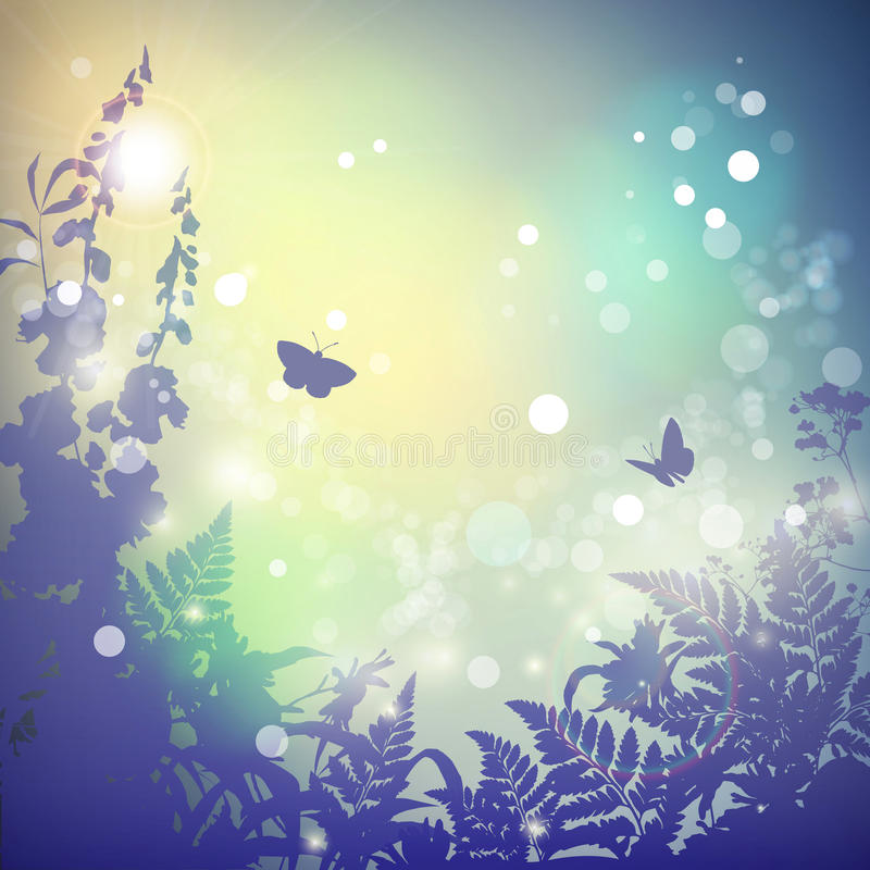 Summer Vector landscape. Nature background. Wild grass, herbs, butterfly and flowers silhouette. Sunset. Vintage poster in retro color. Blur. Bokeh royalty free illustration