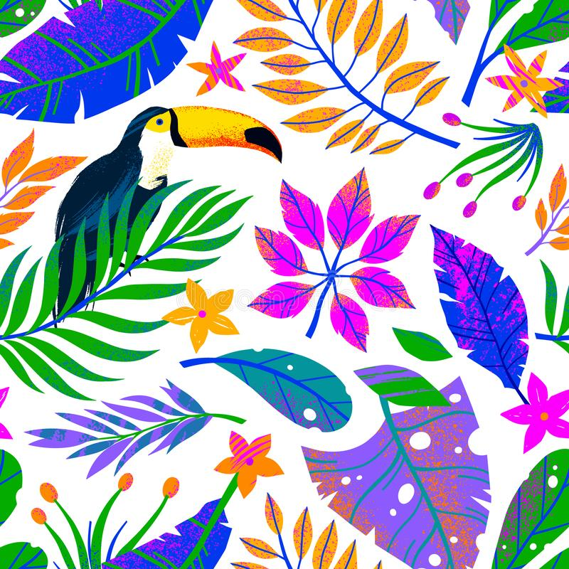 Summer vector seamless pattern with hand drawn tropical leaves,toucan and flowers stock images