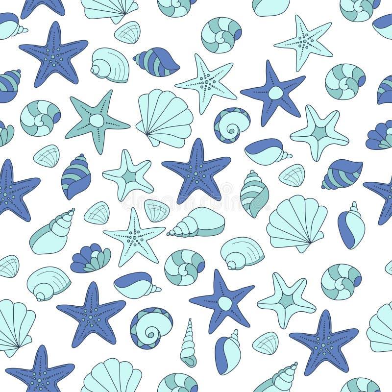Summer vector seamless pattern with seashells stock illustration