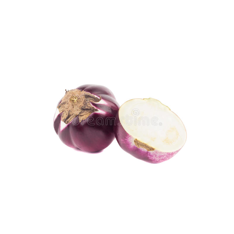 Summer vegetable: raw violet eggplant, isolated royalty free stock images