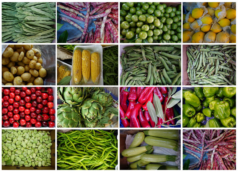 Summer Vegetables. Various summer vegetables and fruits royalty free stock images