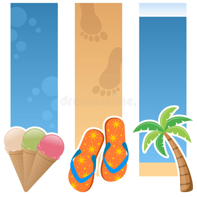 Summer Vertical Banners. A collection of three summertime vertical banners with ice cream cones, colourful flip flops and a palm tree on sand and blue background stock illustration