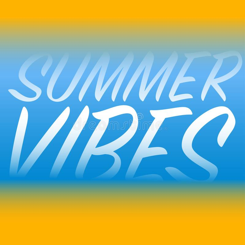 summer vibes blue yellow background white letters royalty free illustration