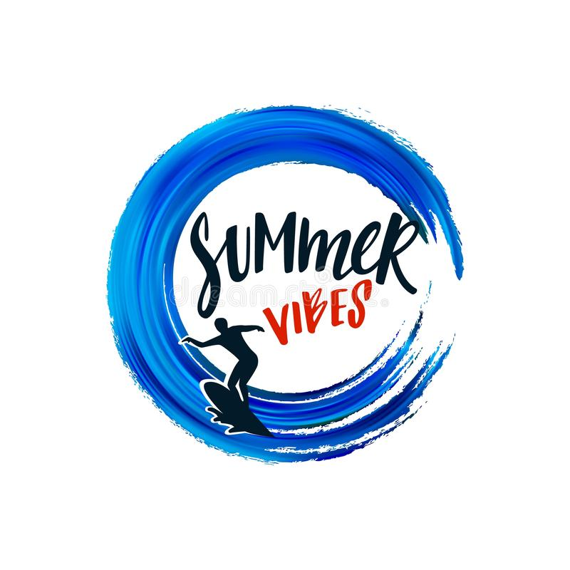 Summer Vibes Design Elements Isolated on White Background. Vector Silhouette of Surfer on Board and Handwritten Text. royalty free illustration