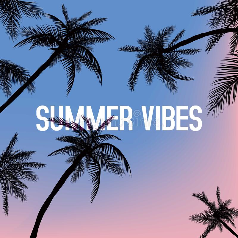 Free Summer Vibes. Hand Drawn Lettering On Background With Palm Leaves. Design Elements For Poster, Flyer. Vector Illustration Stock Photo - 219004290