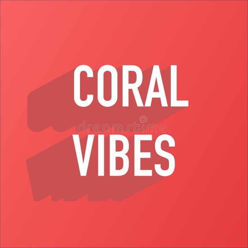 Summer vibes on living coral background banner stock illustration