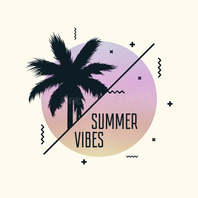 Summer vibes poster design with modern graphics and palm tree. Trendy banner template. Vector vector illustration