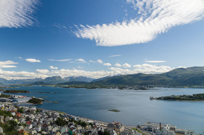 Summer view of Alesund city from Aksla hill royalty free stock photo