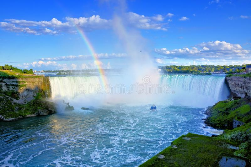 Canadian side of Niagara Falls with beautiful rainbow royalty free stock image