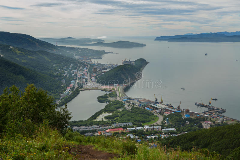 Summer view the center of Petropavlovsk-Kamchatsky and Avacha Bay. View from Mishennaya hills. Summer view the center of Petropavlovsk-Kamchatsky and Avacha Bay stock images