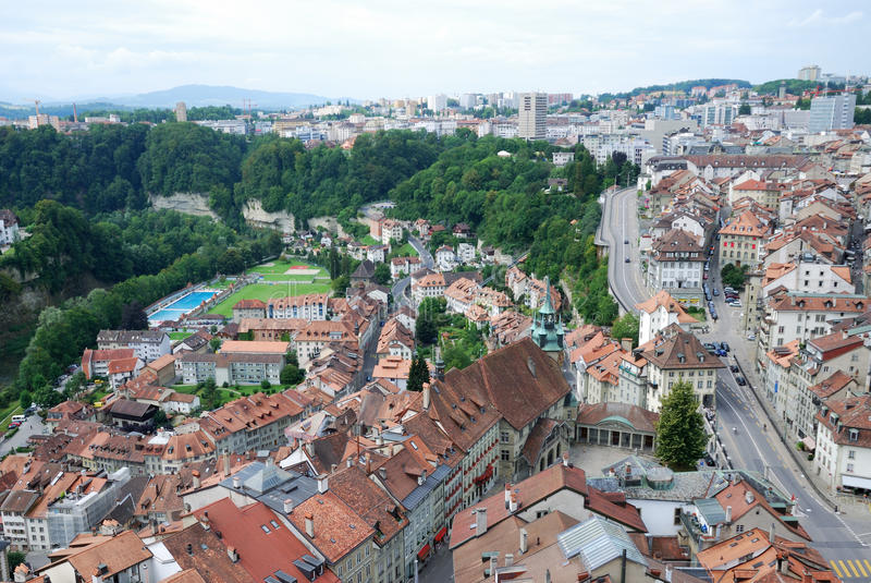 Summer view of Fribourg. royalty free stock images