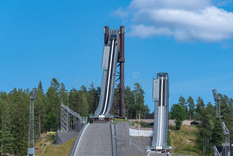 Summer view of the large ski jumping facility in Falun Sweden. The large ski jumping facility located in Falun, Sweden. Naked steel construction In summertime royalty free stock photos