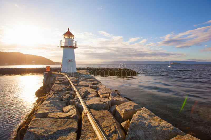 Summer view of a lighthouse in Trondheim stock images