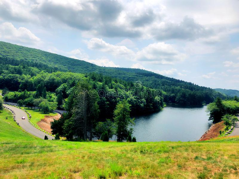 Summer view from Saville Dam. In Connecticut near Barkhamsted Reservoir and Farmington River in Connecticut United States stock photo
