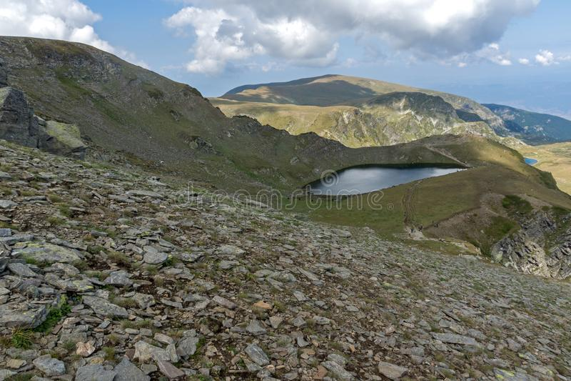 Summer view of The Tear lake, Rila Mountain, The Seven Rila Lakes, Bulgaria. Amazing Summer view of The Tear lake, Rila Mountain, The Seven Rila Lakes, Bulgaria stock photography