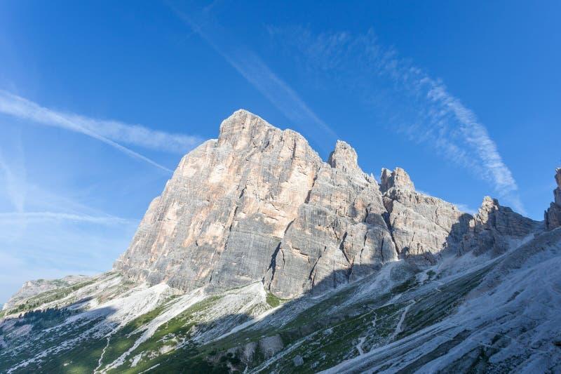 Summer view of Tofana di Rozes southern wall. Cortina d`Ampezzo, Italy stock photo