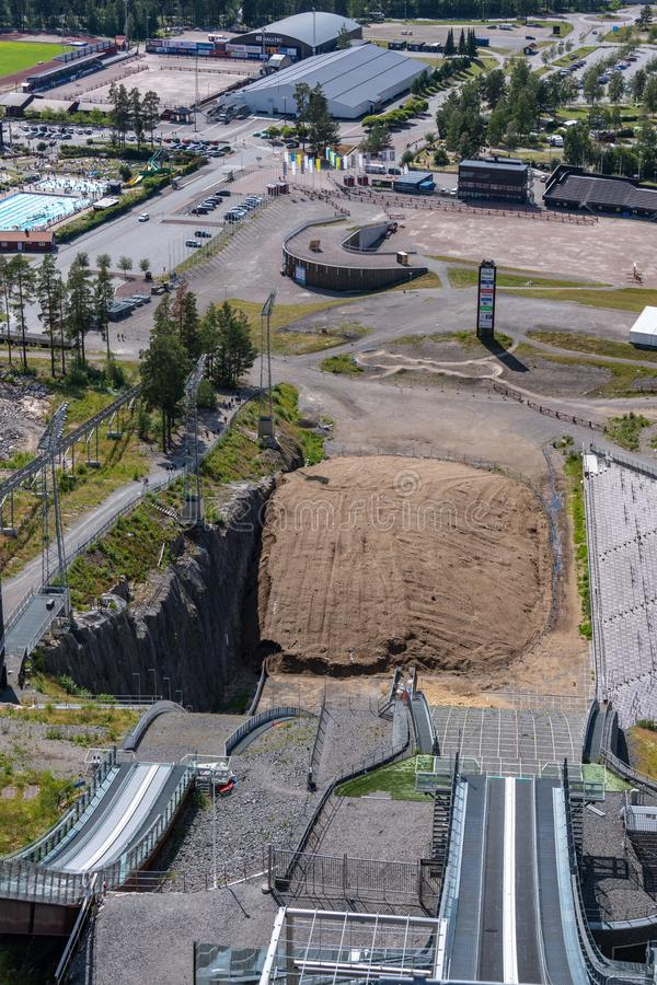 Summer view from the very top of the ski jumping facility in Falun Sweden. Falun, Sweden, 10-07-19 royalty free stock photography