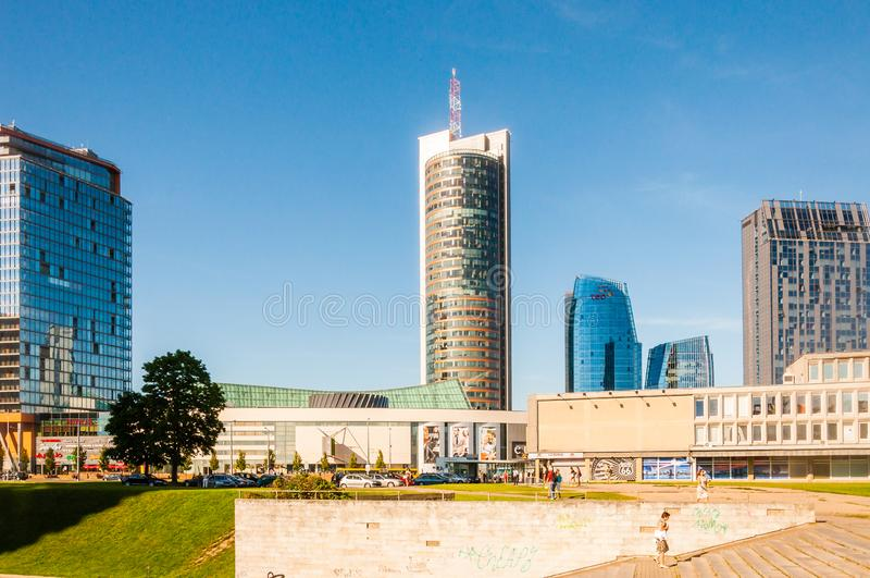 Summer Vilnius downtown business centers cityscape view stock photography