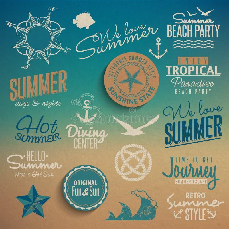 Summer vintage elements vector illustration