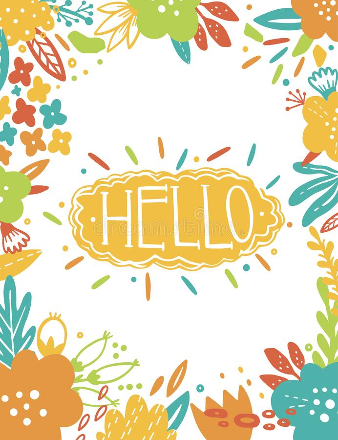 Summer Vintage Floral Greeting Card with garden flowers. Abstract border postcard. Text- Hello. Romantic style. royalty free illustration