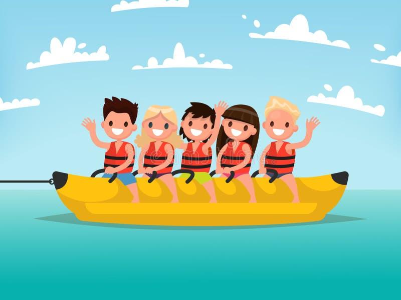 Summer water fun. Children ride on a banana boat. Vector illustr. Ation of a flat design vector illustration