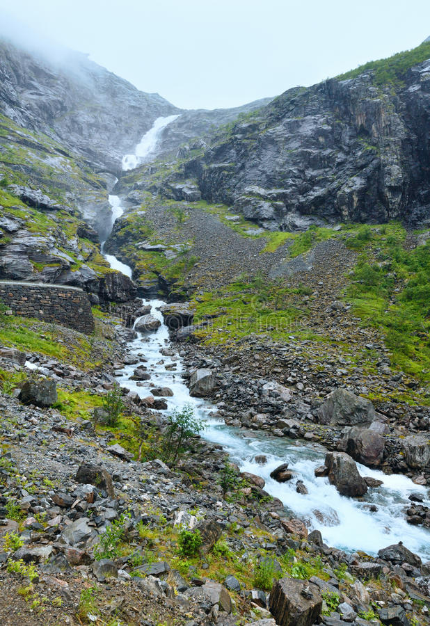 Summer Waterfall On Mountain Slope (Norway). Royalty Free Stock Photos