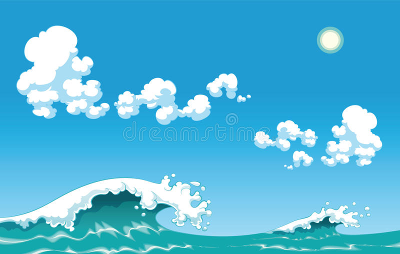 Summer wave. Nice cartoon and vector illustration