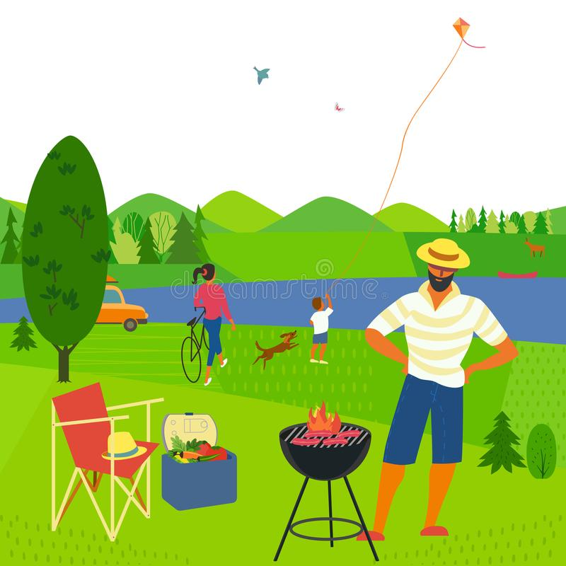 Summer weekend picnic. Family barbecue picnic. Summer outdoors concept. Cartoon colorful poster. Season holiday leisure banner background. Mountain valley, lake royalty free illustration