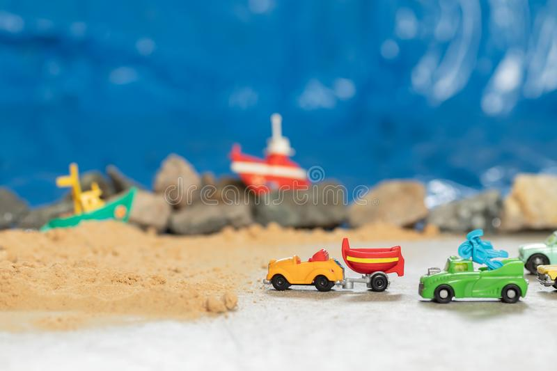 Summer weekend trip by the ocean for surfing and diving stock image