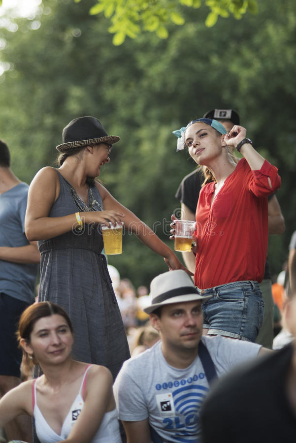 Summer Well Festival 2015. Buftea, Romania – August 9, 2015: People having fun at the third edition of the music festival 'Summer Well' on 8-9 August at ' royalty free stock image