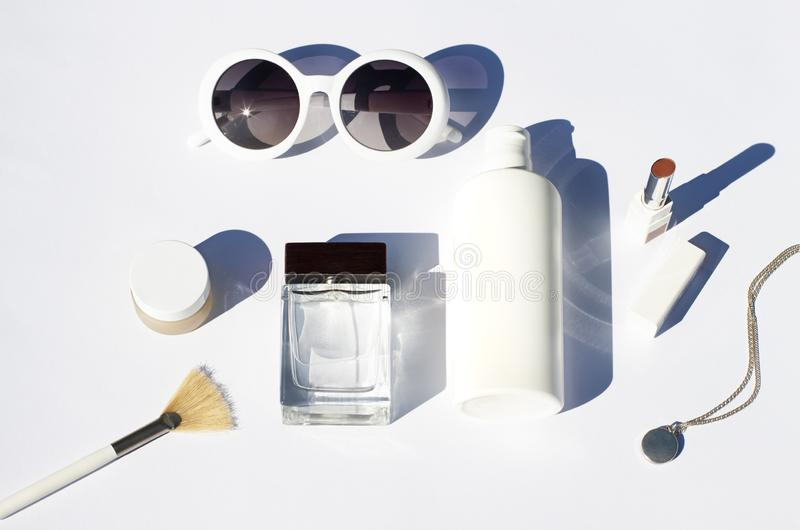 Summer white cosmetics flat lay . Sunscreen beauty concept. Top view stock image