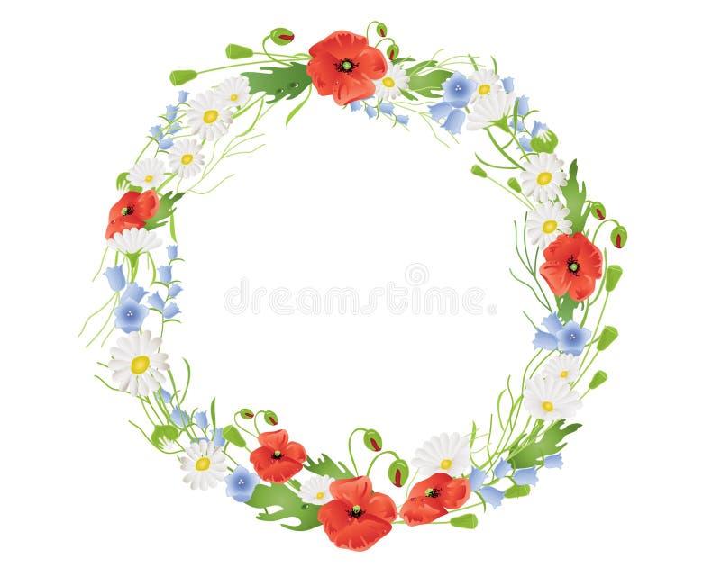 Download Summer wildflower wreath stock vector. Image of summer - 22481827