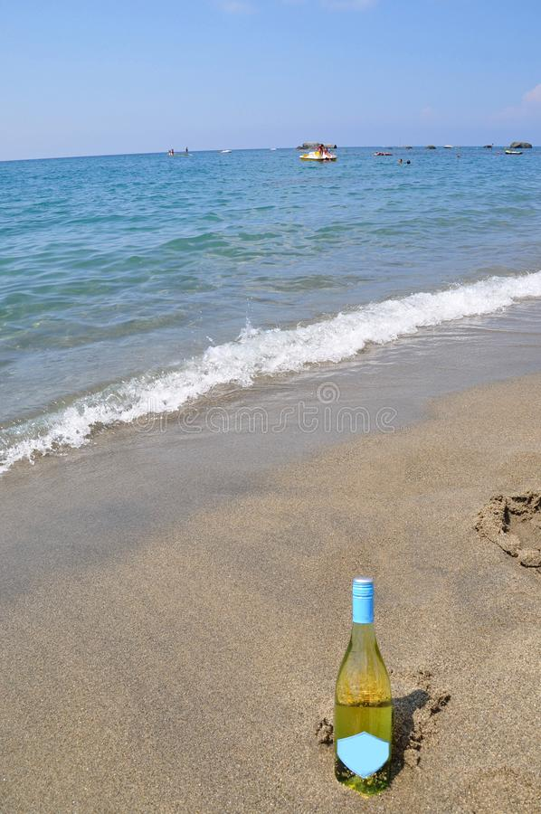 summer Wine on the beach Ischia Italy royalty free stock images