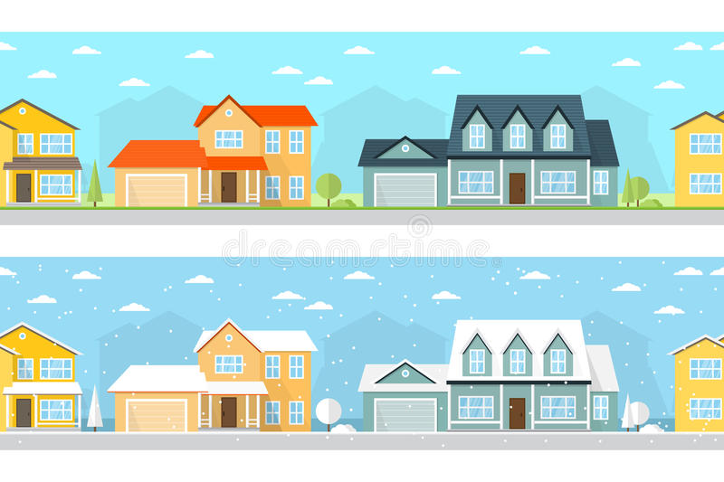 Summer and Winter town. vector illustration