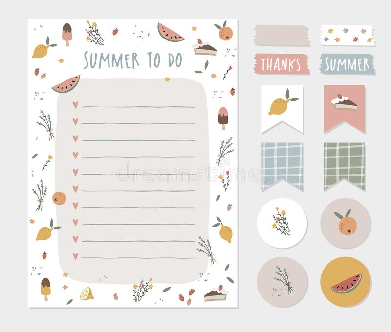 Summer wish, to do list, colorful scrapbooking stickers, labels, tapes and gift tags. Cute stationery, planner template stock illustration