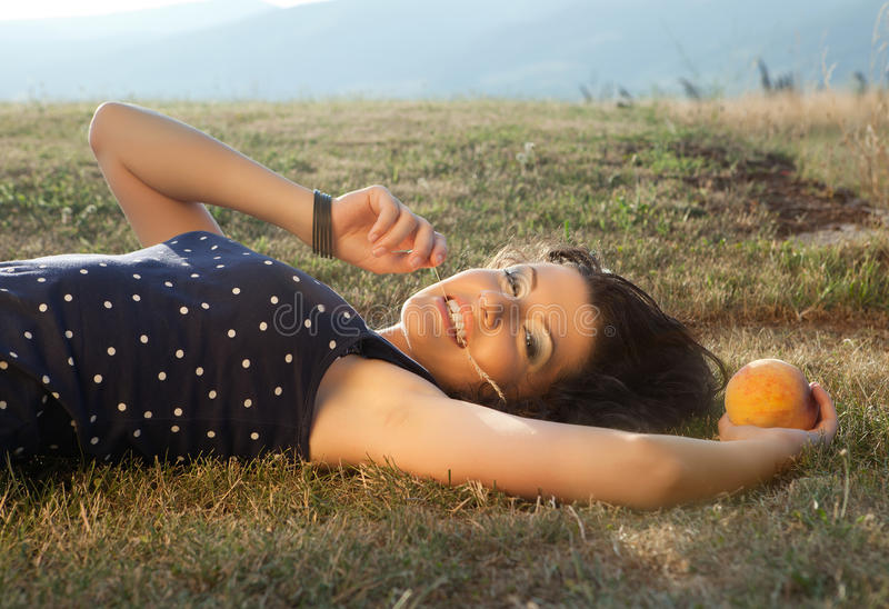 Summer Woman And Apple Royalty Free Stock Images