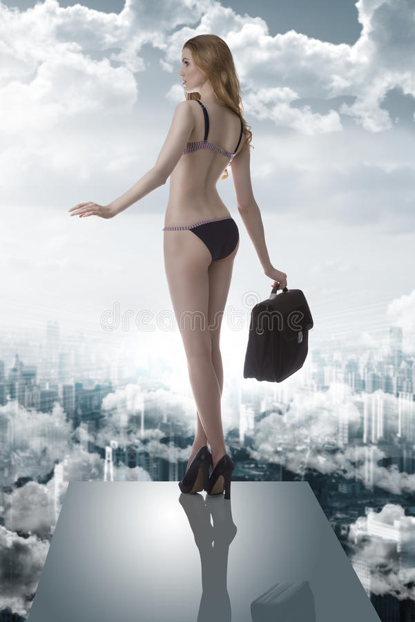 Download Summer Woman In Balance With Bag In The Clouds Stock Image - Image: 32772513