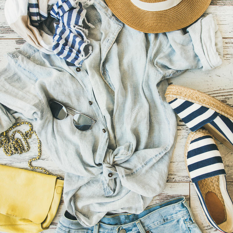 Summer woman`s outfit flatlay, top view, square crop stock photo