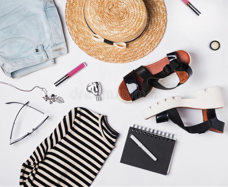Summer woman`s trendy outfit. Flat lay stock image