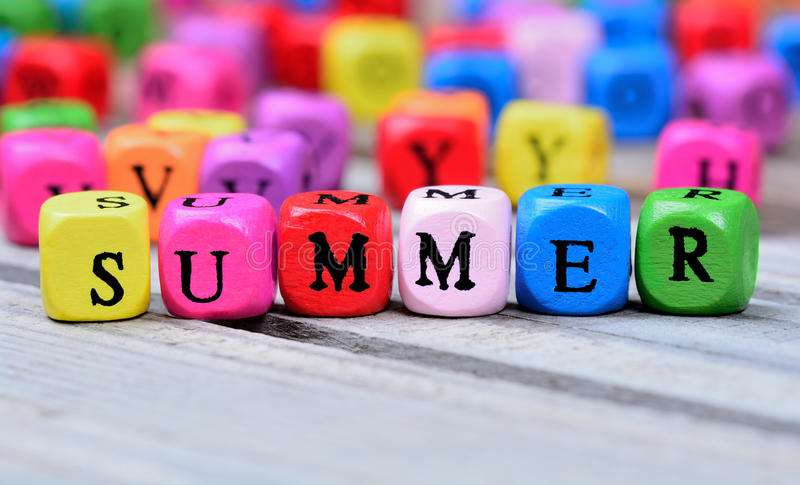 Summer word on table stock photos